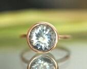 Aquamarine 14K Gold Ring, Engagement Ring, Gemstone Ring, Cocktail Ring, Stacking Ring - Ship In The Next 9 Days