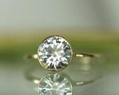 7mm Moissanite 14K Gold Engagement Ring, Stacking Ring - Made To Order