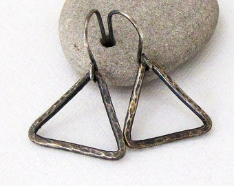 Silver Triangle Earrings Triangle Hoop Earrings Geometric Hammered Triangle Earrings Everyday Simple Rustic Triangle Hoops Gift for Her Mom