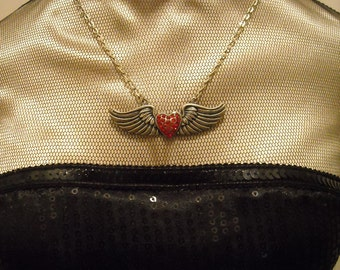 Silver Toned Winged Heart Necklace w/ Red Rhinestones
