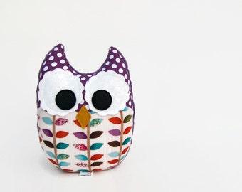 Purple Plush Owl Stuffed Toy Woodland Orange Teal Pink Nursery Decor