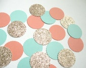 """Confetti Celebration packet of 1"""" paper circles in Mint/Lt.Coral/Champagne Glitter - Party/Showers/Weddings/Holidays/Table Decor/DIY Garland"""