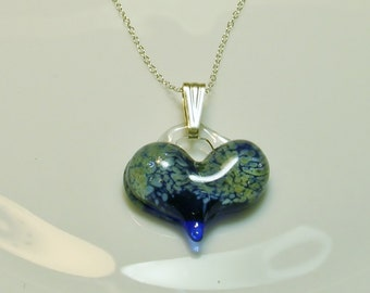 One-of-a-Kind Blue/Cream Artisan Lampwork Heart Bead Necklace with Sterling Silver