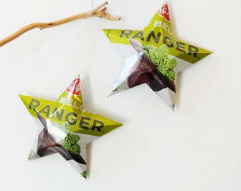 Ranger India Pale Ale Beer Stars, set of 2 , New Style Can  Ornaments Aluminum Can Upcycled IPA