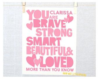Custom Gift, Brave, Wall Art, Girls Room Decor, Personalized Wall Art, You Are Brave, Modern Nursery Art, Teenage Room Decor
