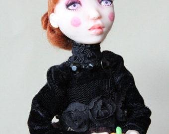 SALE Halloween Witch Burgundy One of a kind Art Doll Figurine Craft polymer clay