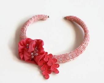 Coral Statement Choker,  Collar Necklace Unusual Crochet Lariat, Carmine Pink, Fabric Flower Neck Piece, Unique Design, Mother Day Gift