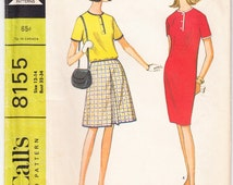 Vintage 1965 McCall's 8155 Sewing Pattern Junior's, Misses' Dress or Top and Skirt Size 12-14 Bust 32-34