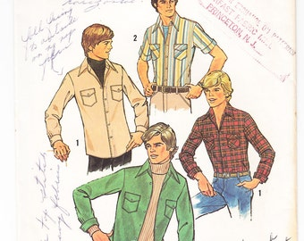 Vintage 1976 Simplicity 7680 Sewing Pattern Teen Boys Shirt Size 20