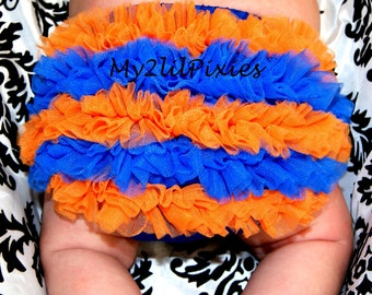 Baby Bloomers. Florida Gator Baby,  Orange and Royal blue Chiffon ruffle bum baby bloomer, Diaper Cover, Ruffle Diaper Cover , Baby Girl
