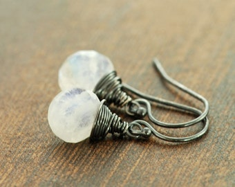Moonstone Earrings Wrapped in Oxidized Sterling Silver, Handmade Gemstone Dangle Earrings