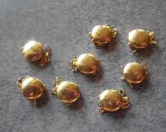Vintage 3 Strand Clasps- Gold Plated- Old Stock- Vintage 1960's- Set of 8