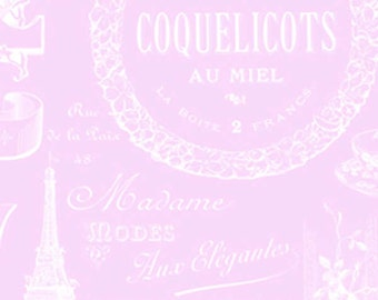 Sausalito Cottage  Parisian Words LH13063Pink  Lakehouse Dry Goods  French Vintage Product Labels on Pink