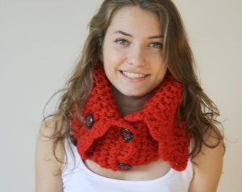 Red HandMade Scarf Shawl Neckwarmer Cowl Christmas gift for women gift Under50