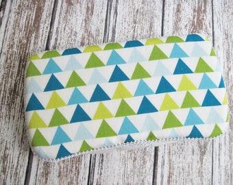 Green and Blue Geometric Baby Wipes Case, Triangle Baby Wipe Case, Green, Blue and White Triangles