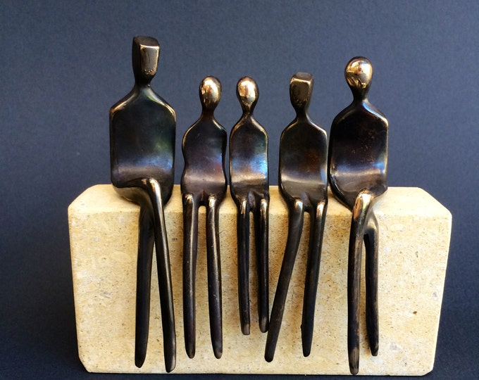Family of Five: family portrait in cast bronze sculpture