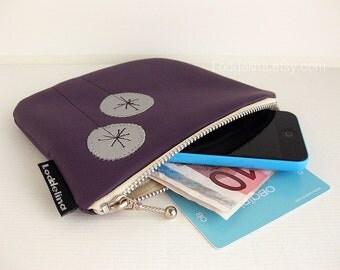 Vegan leather iPhone pouch in aubergine purple with dandelion applique