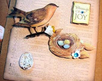 Handmade Card, With Bird and Eggs, All Occasion, blank, Birthday, Father's Day