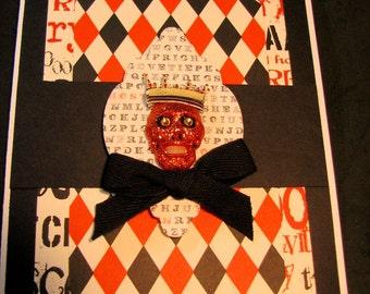 Scream, Black and Orange Skeleton Head Handmade Halloween Card