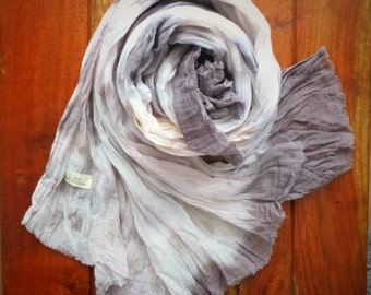 Summer Storm Extra Long Cotton Scarf - Naturally Dyed - Womens Organic Summer Beach Accessory