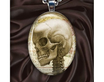 Z-Day Zombie March Pendant - Zombi Skull - Zombi art pendant - Skull - Cranium - Silver Oval Art Necklace - Z-Day