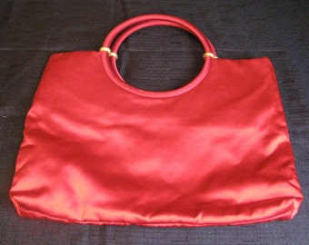 Vintage Red Satin Ingber and Company Purse with Gold Accents