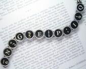 SALE! Vintage Typewriter Key Bracelet With Random Keys All Black  - Vintage Typewriter Key Jewelry From HauteKeys