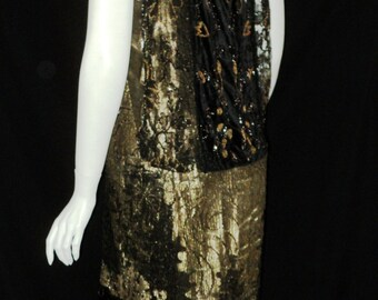 Art Deco Oreintalist Period Antique Gold Metallic Lace Lame Dress Velvet Beaded French Couture Rare Wearable 1920s