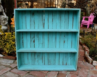 Wood Shelf - Furniture - Cabinet - Storage - Kitchen, Bath, Home Decor 26 x 26 x 5.5 - Robins Egg Blue