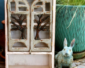 Wood Cabinet - Rustic, Shabby Cottage, Oak Tree - 20 x 12 x 5.5
