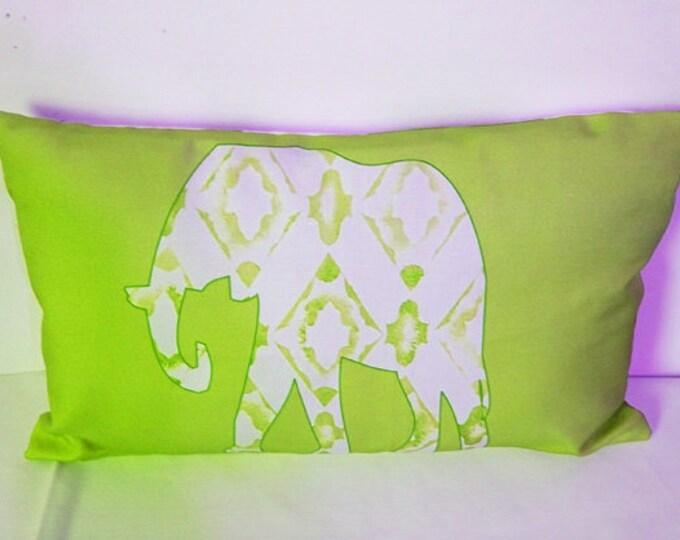 Elephant Lumbar Pillow, Decorative Thrwo Pillow Cover, 11 x 17  Lumbar Pillow Cover, Home Decor, Sofa Pillows, Block, Pillow Cover