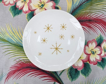 "Vintage 1950's atomic dinner plates Star Glow 10"" plates by Royal China, 2 atomic plates, excellent condition"