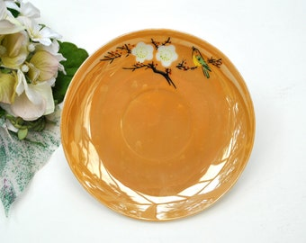 Vintage Lusterware plate Occupied Japan with bird 1950s peach saucer