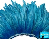 Turquoise feathers, 2.5  Inch Strip -  TURQUOISE Strung Natural Bleach Coque Tails Feathers: 276