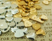 Sale - 25 Gold or Silver Plated Mini Hearts - Drop, Charm or Stamp - 5mm - With Matching Handcrafted Jump Rings - 100% Guarantee