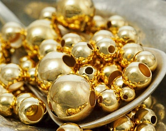 50 Gold Plated Smooth Round Beads - You Pick Size 2.5mm, 3mm, 4mm, 5mm, 6mm, 7mm, 8mm, 9mm, 10mm ...