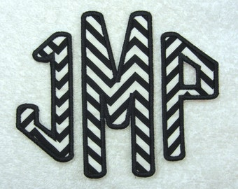 Triple Diamond Monogram (Large) Fabric Embroidered Iron On Applique Patch MADE TO ORDER