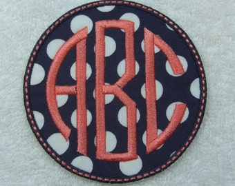 Round Triple Circle Monogram Embroidered Iron On Applique Patch MADE TO ORDER