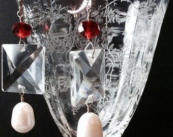 Baroque, White Fresh Water Pearls, Leaded Crystal Chandelier Squares, Red Crystal, Sterling Silver Earrings-2167ED