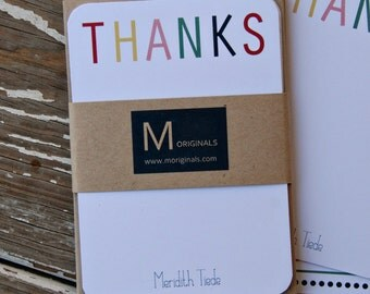 Personalized Note Cards - Set of 8 - Colorful Thanks