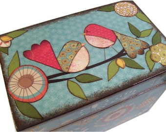 Recipe Box Decoupaged This Teal Blue Bird Box is Large and Handcrafted Holds 4x6 Recipe Cards  MADE To ORDER