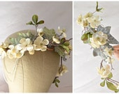 Woodland crown, floral head piece, wedding crown, bridal hair vine, hair accessory by gardens of whimsy