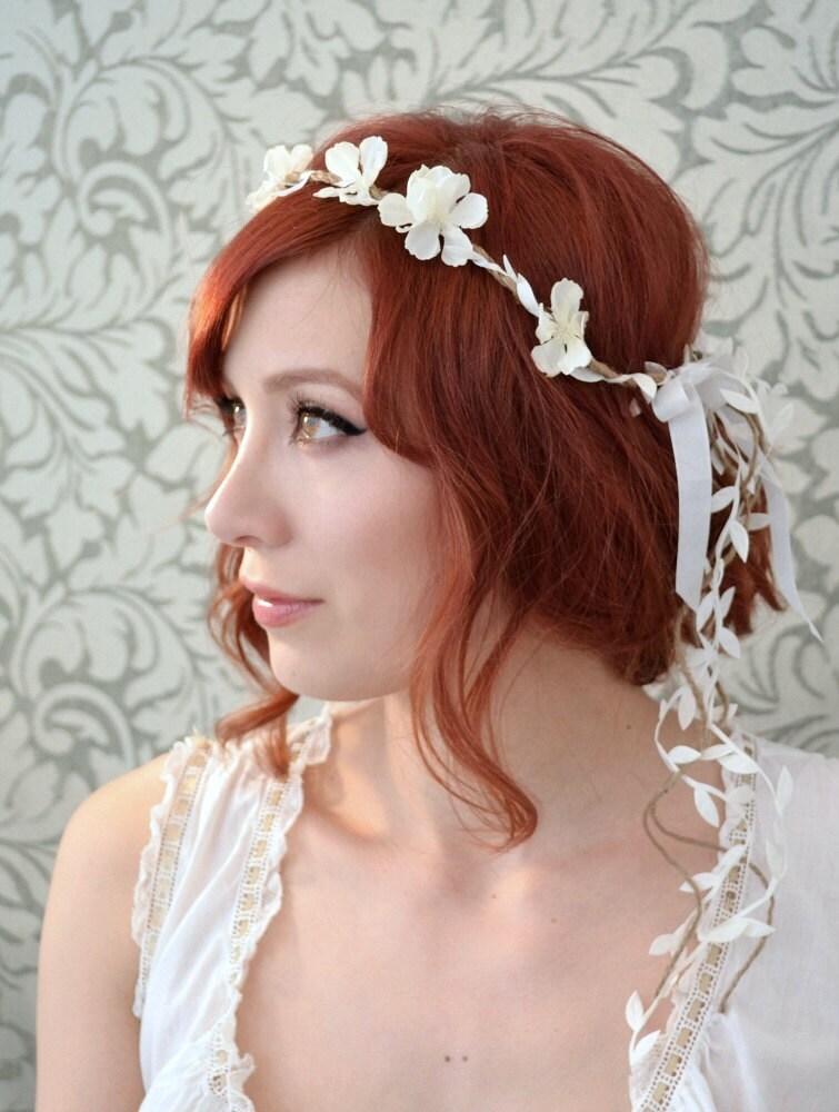 Boho Floral Headpiece White Flower Crown Wedding Headband