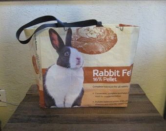 Reusable Recycled Upcycled Rabbit Feed Extra Large Market Tote Bag Purse