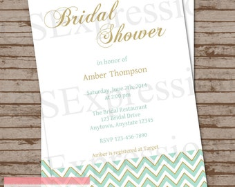 Mint and Gold Chevron Bridal Shower Invitation
