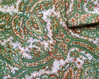Vintage Fabric 70's Polyester, White, Green, Yellow, Paisley, Material