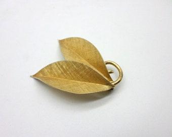 Vintage Gold Plated Sterling Silver Leaf Brooch Pin