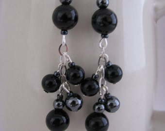 Black Night Earrings in sterling silver and black