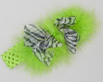 Zebra Chiffon Ribbon and Lime Maribou Big Bow Headband fits infants, toddlers and girls.