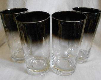 4  Vintage  Glasses Hollywood Regency   Silver Rimmed Ombre Highball  Mad Men Chic